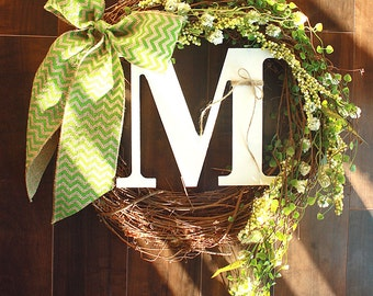 Lush Green Monogrammed Grapevine Wreath with a Green Chevron Burlap Bow