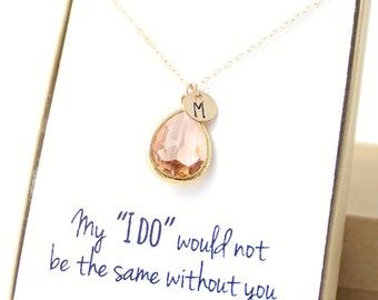 Bridesmaid Gift (Peach Champagne / Gold Teardrop Necklace NB1)