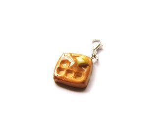 Buttery Syrup Waffle Charm - Miniature Food Jewelry - Polymer Clay Chicken and Waffles Charms