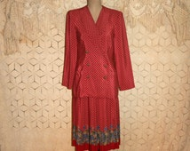 Red 2 Piece Suit Dress 80s Print Skirt Set Day Dress Red Skirt Suit Double Breasted Suit Jacket Pleated Skirt Size 8 Medium Womens Clothing