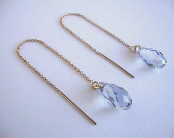 Crystal Blue Shade Swarovski Crystal Gold-Filled Threader Earrings - Handmade Jewelry - Bridal / Bridesmaid Earrings - Minimalist
