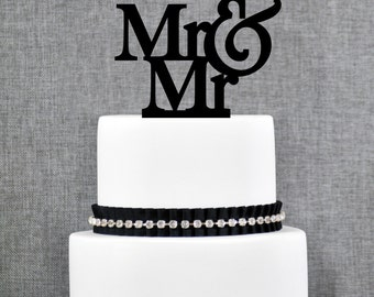 Mr and Mr Same Sex Wedding Cake Topper, Traditional and Elegant Cake Topper in Custom Color, Modern Wedding Cake Topper (T002)