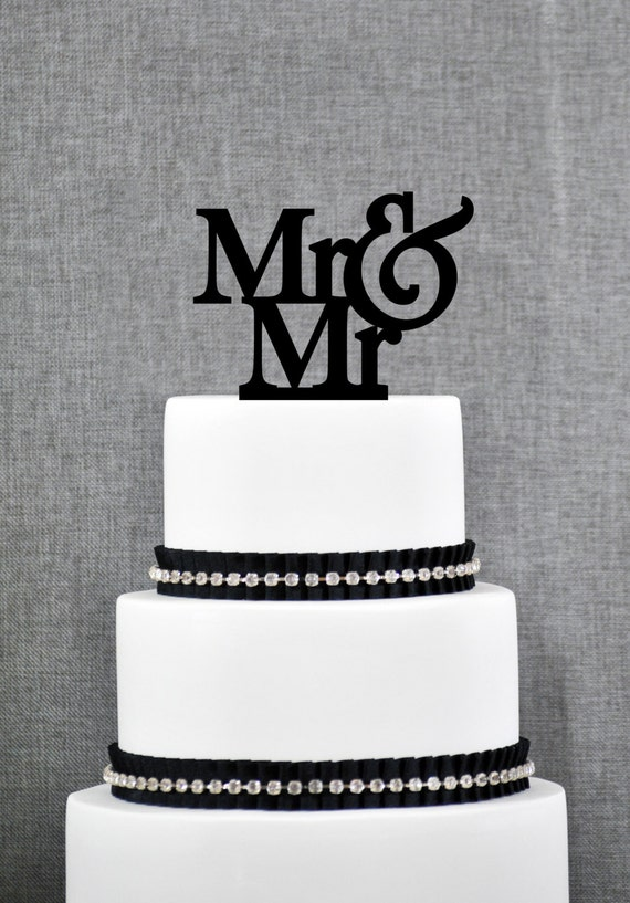 Mr and Mr Same Sex Wedding Cake Topper, Traditional and Elegant Cake Topper in Custom Color, Modern Wedding Cake Topper (S002)