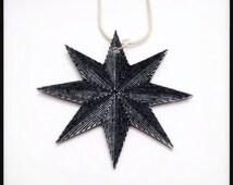 Stella Polaris North Star Compass Rose Reversible Illustration Pendant Necklace