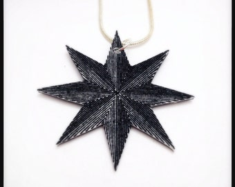 Stella Polaris North Star Compass Rose Reversible Illustration Pendant Necklace
