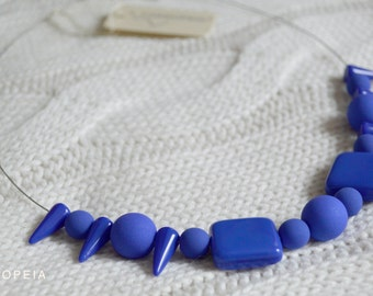 Neon blue necklace, Neon necklace, Necklace with neon blue beads