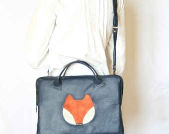 Leather Laptop Bag, IPad Leather Bag, Navy Blue Leather Laptop Bag, Fox Bag, Crossbody Shoulder Bag, Mens laptop Bag, Women Laptop
