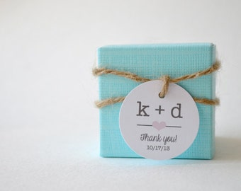 "Mini Thank You 1.5"" Round Small Label Tags - Custom Wedding Favor & Gift Tags - Choice of Colors - Typewriter Initials"