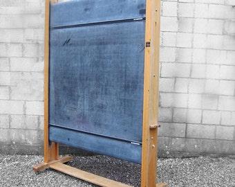 Vintage School Blackboard - 1950s Old Revolving Chalkboard