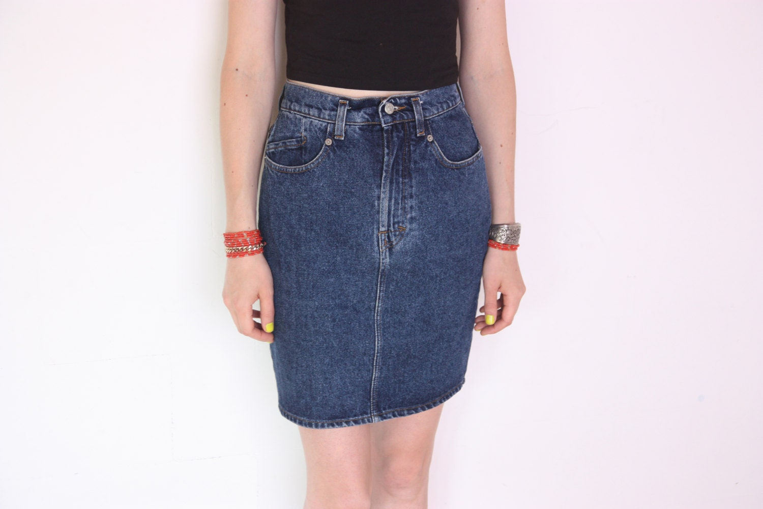 90 s denim pencil skirt high waisted blue denim skirt