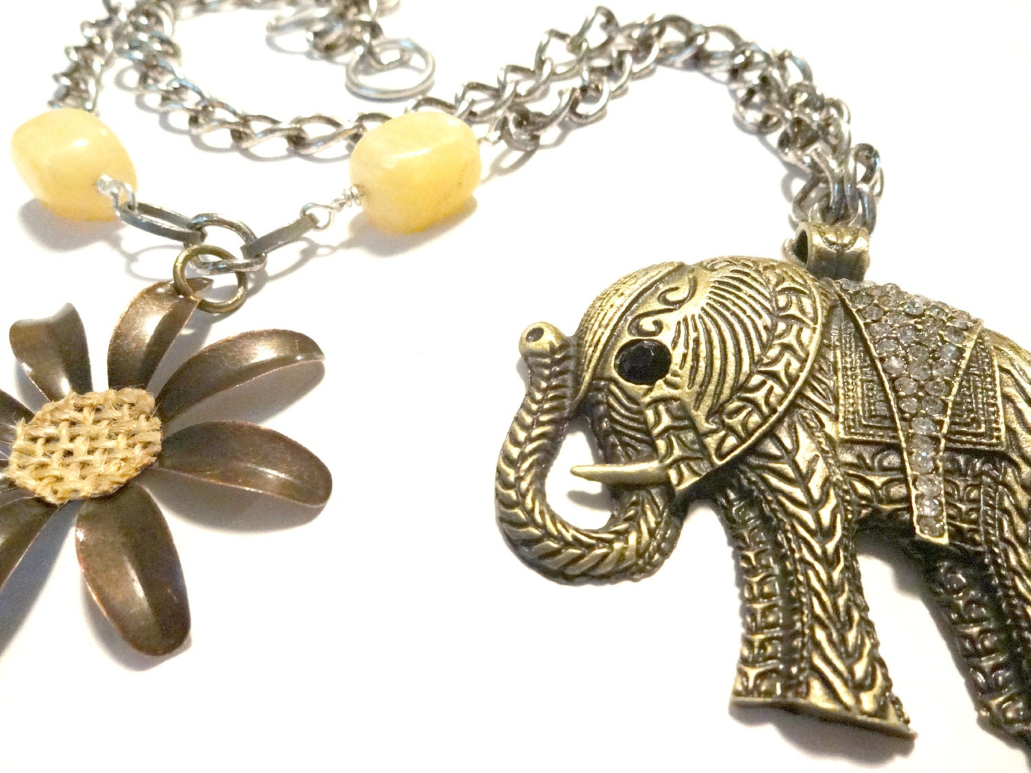 Beaded Elephant Curtain Tieback African Decor Yellow Room