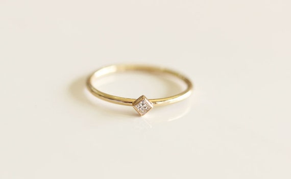 Princess Cut Diamond Engagement Ring In 14k Solid GoldThin