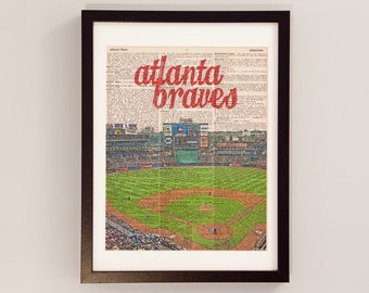 Atlanta Braves Dictionary Art Print - Turner Field - Print on Vintage Dictionary Paper - Baseball Art - Gift For Him