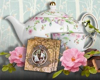 EVENING TEA - Printable Download Digital Collage Sheet Tea Bag Holder Envelopes - Paper Cut Template