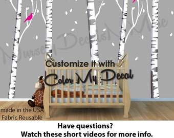 Birch Tree Decal, More Realistic, Reusable, Repositionable White/Gray Birch Tree Wall Decals OBT