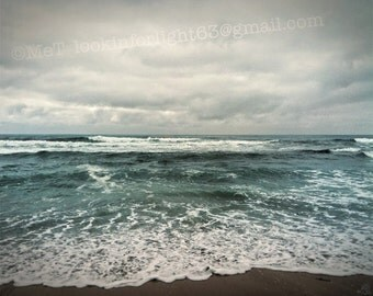 Ocean Photo, Blue Ocean waves photo, Cloudy Sky, Blue Pacific Surf, Stormy Rough Water, California State Beach Art Montano de Oro California