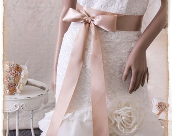 "2"" Tan Bridal Sash 4 yards, Wedding Sash, Bridal Belt, Bridal Sash, Satin Ribbon Sash, Tan Color Sash, Bridesmaids Sash"