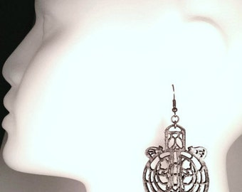 Gothic window leather earrings - stained glass window inspired - silver