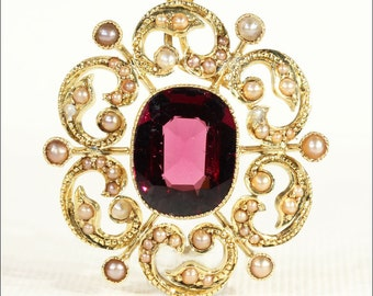 Glowing Antique Garnet and Pearl Pendant in 18k Gold