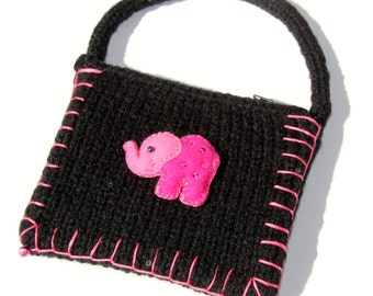 Elephant Coin Purse, Elephant Pouch, Black Knitted Purse, Pink Elephant, Animal Lover Gift, Paisley Purse, Boho Money Pouch, Zipper Pouch