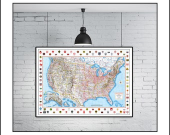 USA Map, Map of the USA, World Map, Railroad Map, Train, Railroad, Historic Map, Vintage Map, Old Map