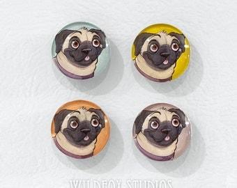 Pug Magnets || Set of 4