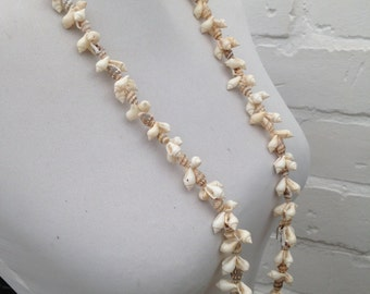Vintage - 1980 Shell Necklace - Single Strand Necklace - Beads - Long Necklace - Wedding - Party