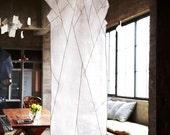 Abstract Snow fallen tree design- Sheer shade space décor. Korean fabric art, Jogakbo
