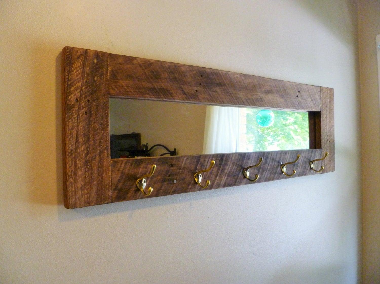 Miroir porte manteau bois de grange miroir de par for Miroir bois de grange