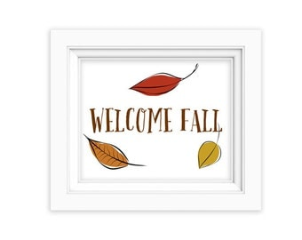 Welcome Fall Printable Art Print, Instant Download, Whimsical Home Print, Doodle Leaves, Original Hand Drawn Art, autumn fall leaves