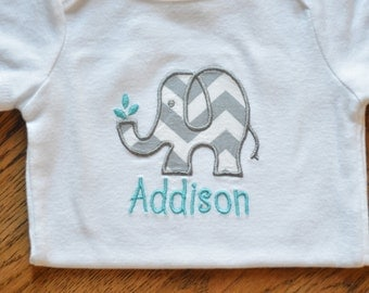 Personalized Chevron Elephant Applique onesie / Monogrammed onesie