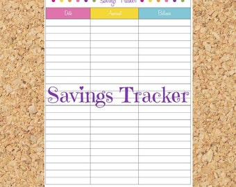 Savings Tracker - Instant Download, Personal Finance, household budget, financial binder, PDF Printable