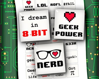 Digital Collage Sheet - Geek Wording Square Images 1.5 inch & 1 inch Geek Quotes - Instant Download