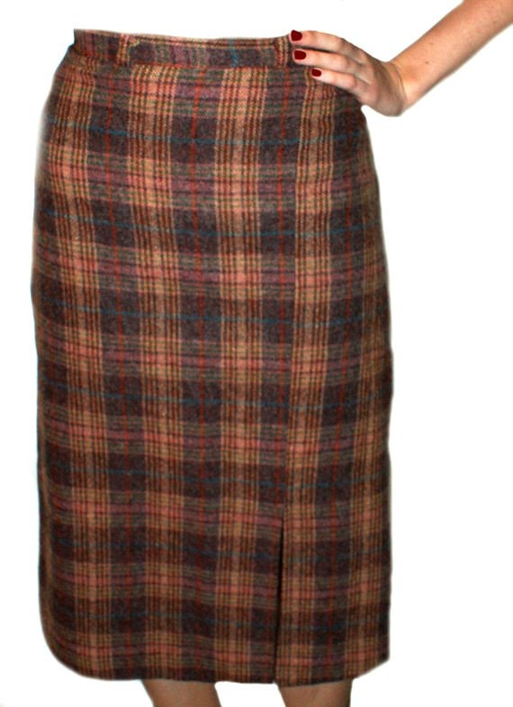 wool plaid skirt below knee tartan by prettyawesomevintage