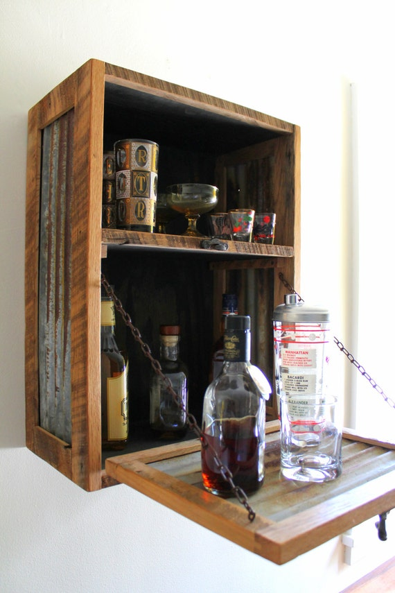 Rustic hanging liquor cabinet murphy bar by inglewoodcrafters for How to build a mini bar cabinet