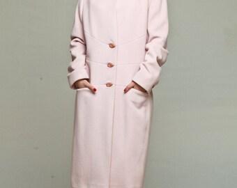Pastel pink wool coat / pink cashmere coat / fitted coat / winter coat / knee length coat