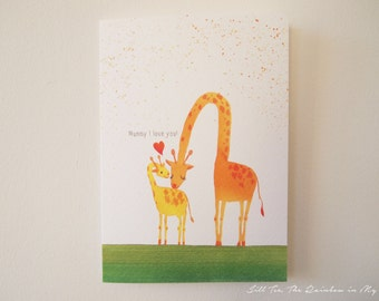Mothers day card Birthday card for mum Mother's Day Gifts, Giraffe Mommy and Baby