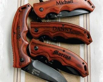 Pocket Knife (SET of 4) Hunting Knife , Engraved Knife , Personalized gift , Best Man gift , Rescue Knife , Groomsman knife , Tactical Knife