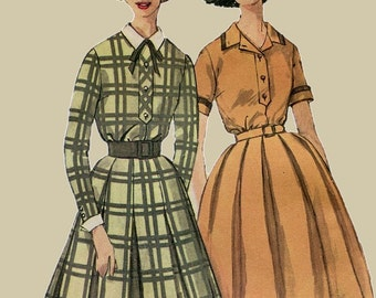 1960s Shirt Waist Dress Pattern Simplicity 3645 Full Gathered or Pleated Skirt Size 12 Bust 32 UNCUT