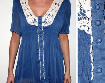 Vintage Blue Lace Romantic Mini Dress Lace Collar Dress