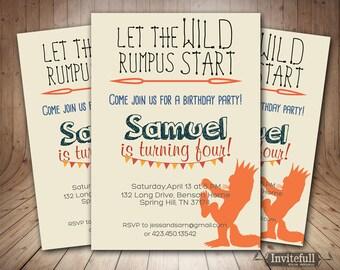 Creative Where the wild things are invitation - Girl or Boy Birthday Invitation - Kids Party Invitation,Orange Grey, ANY Color