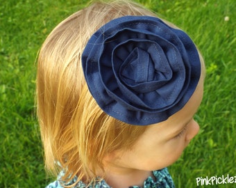 Navy rose hair clip, Navy flower hair clip, Navy hair clip, Navy rosette hair clip, Navy hair clips, rose clip, party favors,girls hair clip