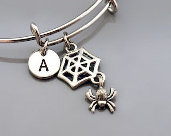 Spider with Web charm Bangle, Spider with Web bracelet, Expandable bangle, Personalized bracelet, Charm bangle, Monogram, Initial bracelet