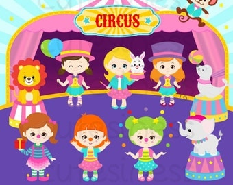 Circus Digital Clipart, Carnival Clipart, Clown clipart