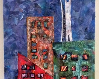 Original 16x40 Mixed Media Seattle Space Needle using Recycled Materials