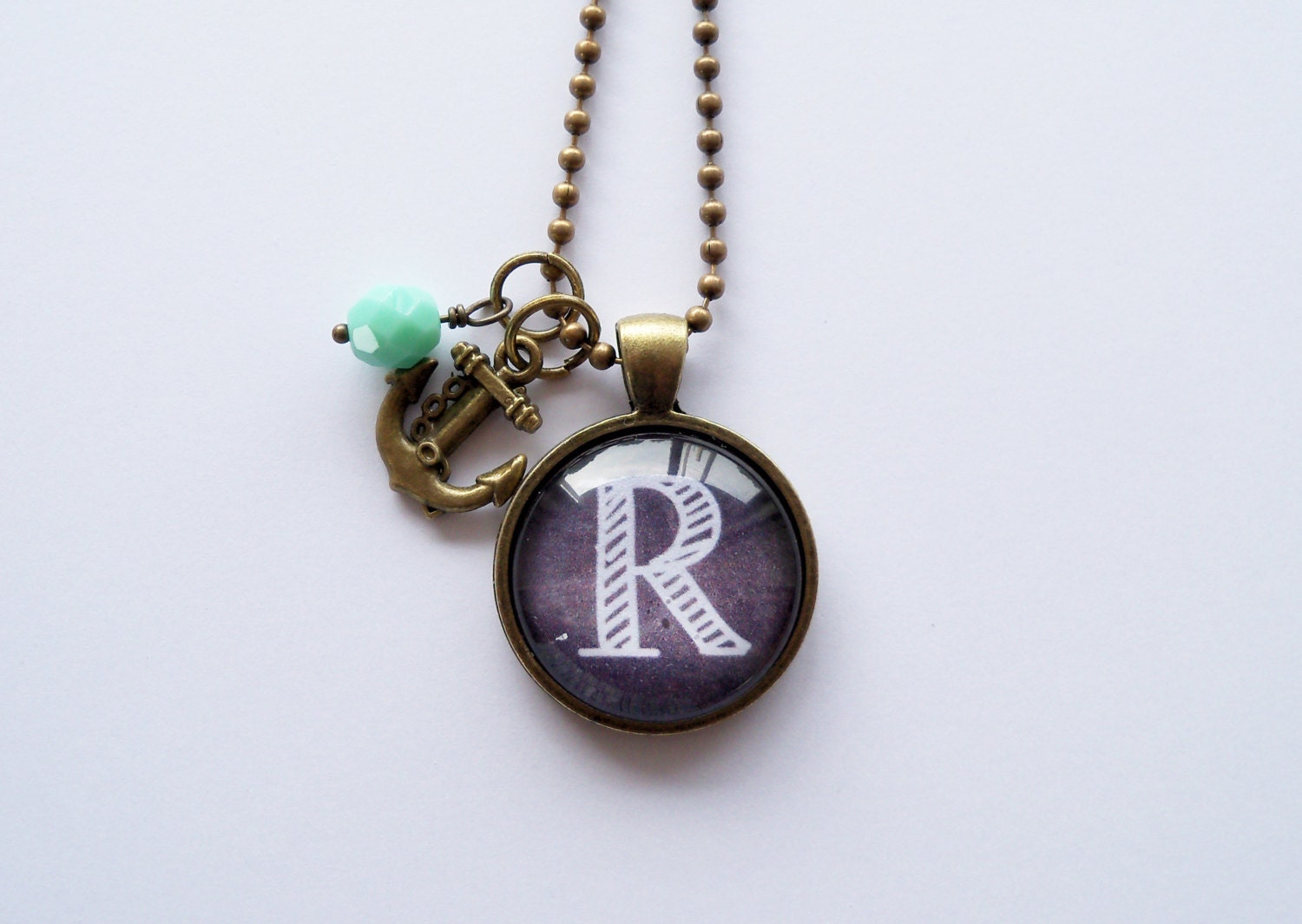 custom initial pendant necklace chalkboard letter one inch
