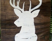 Reclaimed wood wall decor / art / sign - The Buck Silhouette - hand painted