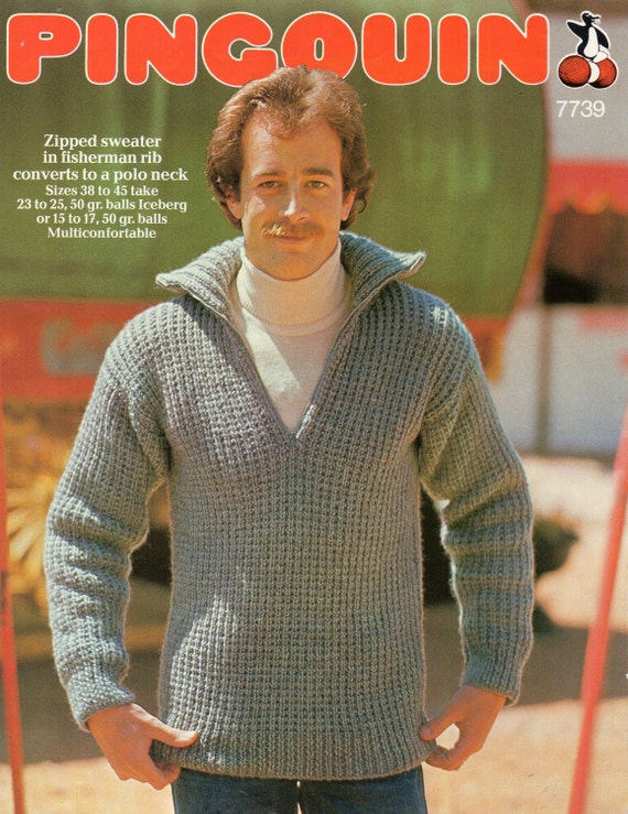 Knitting Patterns Fisherman s Rib Sweater : Mens Knitting Pattern mens chunky fishermans rib sweater 38-45