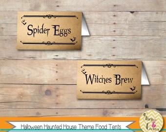 Halloween Party Food Labels, Halloween Food Tent, Food Cards, Vintage Halloween, Printable Editable Template, Adult Halloween Party Decor