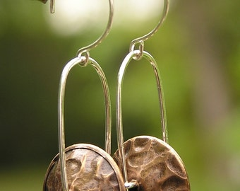 Mixed Metal Trapeze Earrings